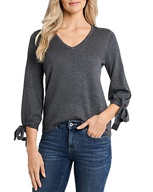 CeCe Tie Sleeve V Neck Sweater-Women
