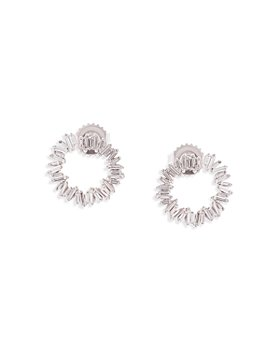 SUZANNE KALAN - 18K White Gold Diamond Fireworks Circle Earrings