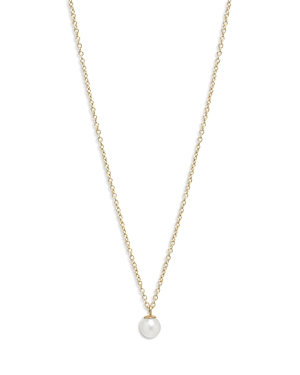 Zoe Chicco 14K Yellow Gold White Pearls Cultured Freshwater Pearl Solitaire Pendant Necklace, 14-16