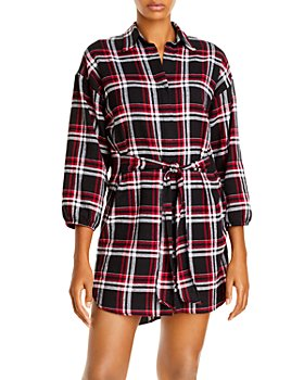 AQUA - Plaid Shirt Dress - 100% Exclusive