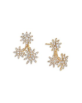 David Yurman - 18K Yellow Gold Starburst Cluster Earrings with Full Pavé Diamonds