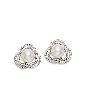 18K White Gold Cultured Freshwater Pearl & Diamond Flower Earrings