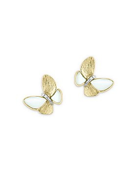 Bloomingdale's - Mother-of-Pearl & Diamond Butterfly Stud Earrings in 14K Yellow Gold - 100% Exclusive