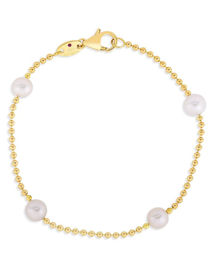 Roberto Coin - 18K Yellow Gold Pearl Station Bracelet