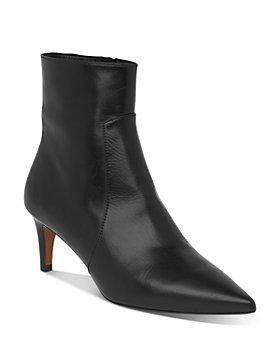 Whistles - Women's Celia Pointed Toe Mid Heel Leather Booties