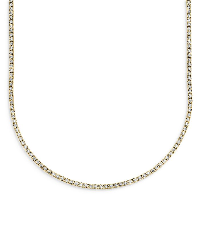 Moon & Meadow - Diamond Tennis Necklace in 14K Yellow Gold, 3.96 ct. t.w. - 100% Exclusive