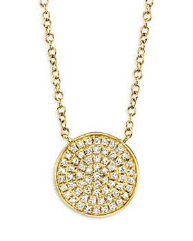 "Moon & Meadow - 14K Yellow Gold Diamond Disc Pendant Necklace, 18"" - 100% Exclusive"
