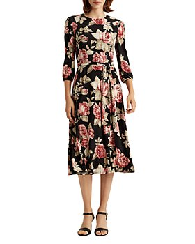 Ralph Lauren - Rose-Print Balloon-Sleeve Dress