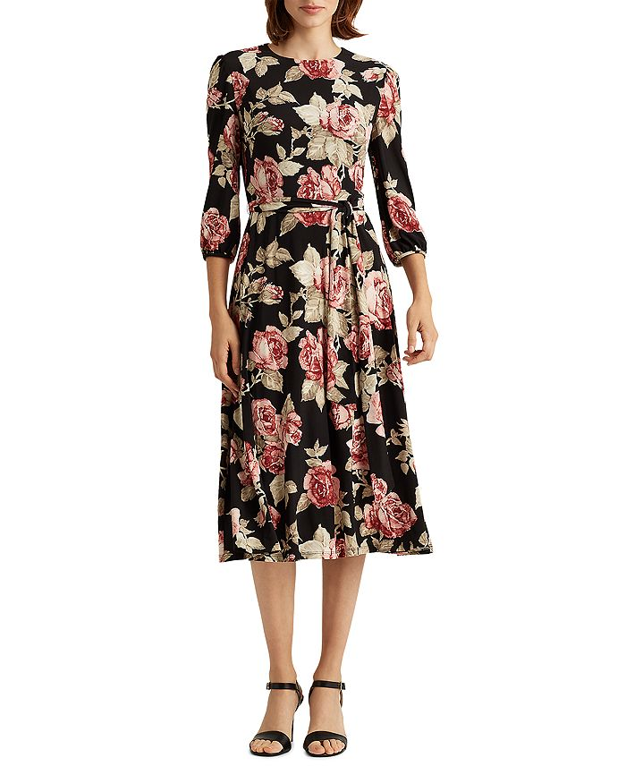 Ralph Lauren - Rose-Print Balloon-Sleeve Dress