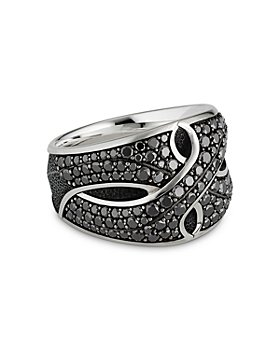 David Yurman - Sterling Silver Armory® Cigar Ring with Black Diamonds