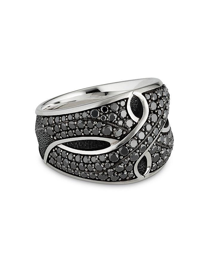 David Yurman - Sterling Silver Armory® Cigar Ring with Black Diamonds