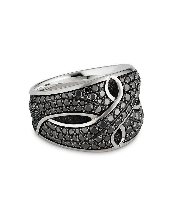 David Yurman Sterling Silver Armory® Cigar Ring with Black Diamonds  | Bloomingdale's