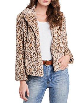 1.STATE - Faux Fur Leopard Print Jacket