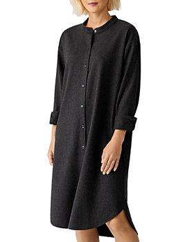 Eileen Fisher - Mandarin Collar Wool Shirtdress