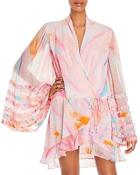 Rococo Sand - Davina Abstract Print Chiffon Mini Dress
