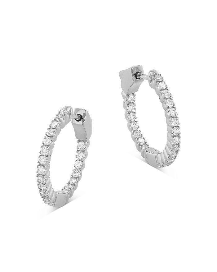 Bloomingdale's - Diamond Inside Out Huggie Hoop Earrings in 14K White Gold, 0.50 ct. t.w. - 100% Exclusive
