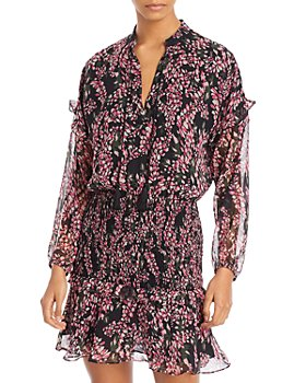 AQUA - Floral Smocked Mini Dress - 100% Exclusive