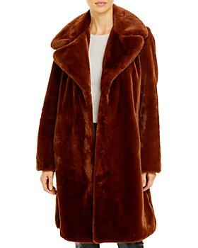 AQUA - Faux-Fur Coat With Wide Lapels - 100% Exclusive