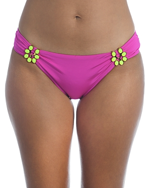 Trina Turk Bijou Solid Shirred Embellished Hipster Bikini Bottom-Women