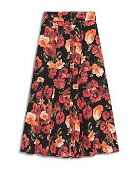The Kooples - Floral Print Silk Skirt