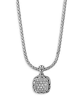 "JOHN HARDY - Sterling Silver Classic Diamond Pavé Square Disc Pendant Necklace, 16-18"""