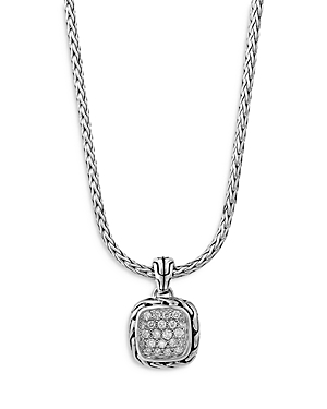 John Hardy Sterling Silver Classic Diamond Pave Square Disc Pendant Necklace, 16-18
