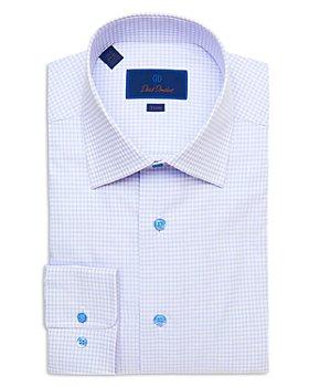 David Donahue - Fine Line Check Trim Fit Dress Shirt