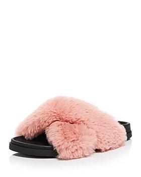 AQUA - Women's Softy Crisscross Faux Fur Slide Slippers - 100% Exclusive