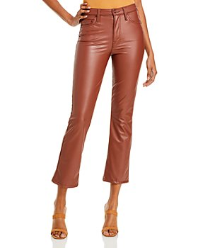 MOTHER - The Insider Faux-Leather Ankle Flare Jeans in Faux Show Tortoise Shell