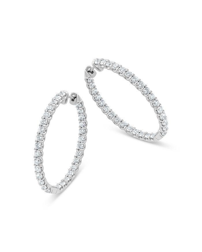 Bloomingdale's - Diamond Inside Out Oval Hoop Earrings in 14K White Gold, 5.0 ct. t.w. - 100% Exclusive