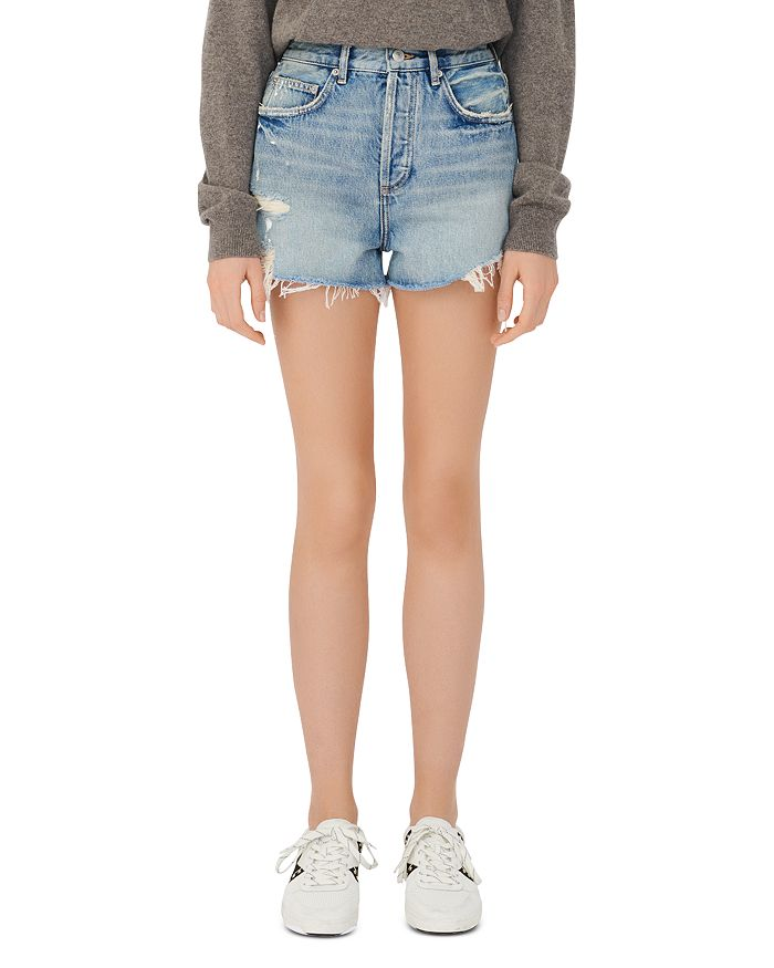 Maje Denims INSTINCT DISTRESSED DENIM SHORTS IN LIGHT BLUE