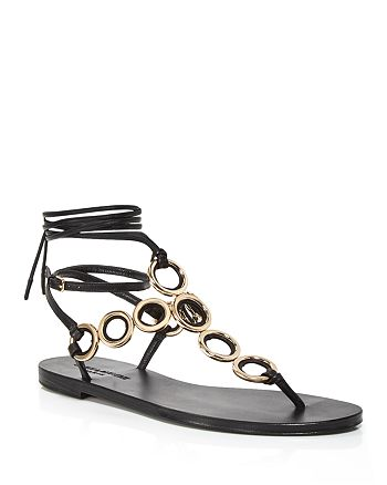 Saint Laurent - Women's Sienna Ring Strap Thong Sandals