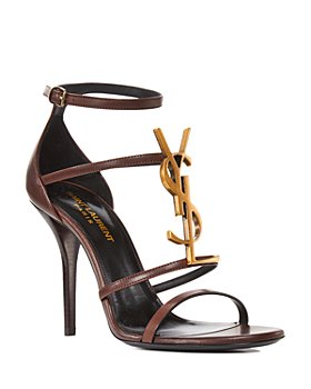 Saint Laurent - Women's 100 Logo High Heel Leather Sandals