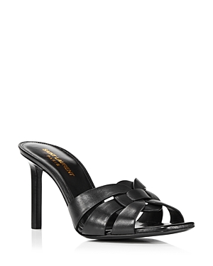 SAINT LAURENT WOMEN'S 85 WOVEN LEATHER HIGH HEEL SANDALS