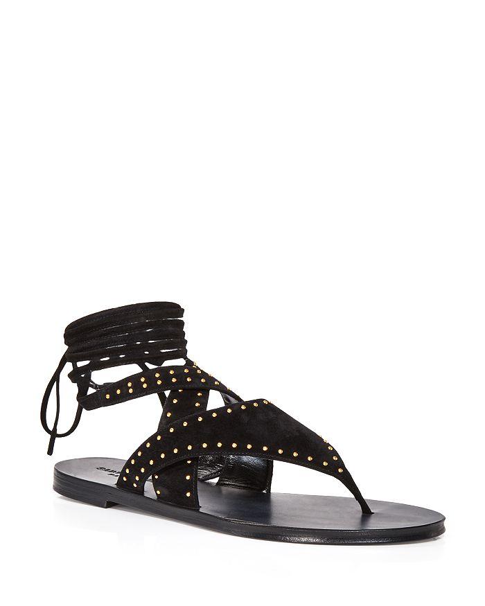 Saint Laurent - Women's Gia Ankle Tie Studded Sandals