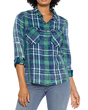 Split Back Plaid Button Down Shirt