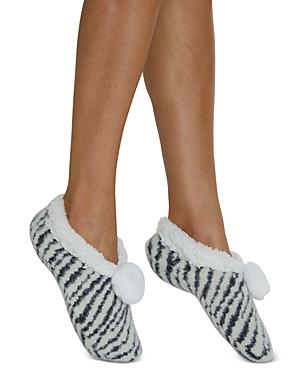 Snow Zebra Faux Fur Slippers