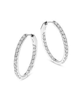 Bloomingdale's - Diamond Inside Out Oval Hoop Earrings in 14K White Gold, 3.10 ct. t.w. - 100% Exclusive