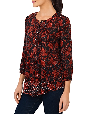 Pleated Button Down Blouse
