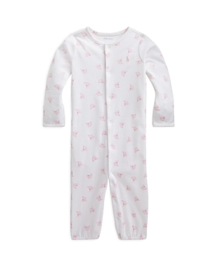 RALPH LAUREN POLO RALPH LAUREN GIRLS' SAILBOAT PRINT CONVERTIBLE COVERALL GOWN - BABY