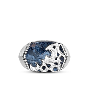 John Hardy Sterling Silver and Blue Pietersite Classic Chain Keris Dagger Signet Ring