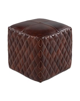 Surya - Leonardo Leather Pouf