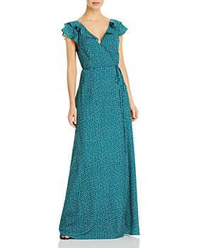 Aidan by Aidan Mattox - Flutter V Neck Long Wrap Dress