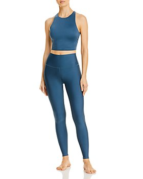 Alo Yoga - Movement Lace-Up Sports Bra & High-Waist Tech Lift Airbrush Leggings