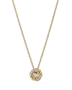 David Yurman 18K YELLOW GOLD PETITE INFINITY PENDANT NECKLACE WITH DIAMONDS, 17
