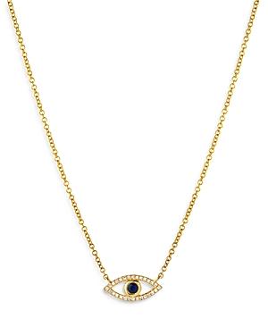 Zoe Lev 14K Yellow Gold Diamond & Blue Sapphire Evil Eye Pendant Necklace, 18