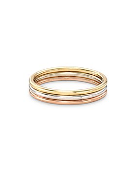 Zoe Lev - 14K Yellow, White & Rose Gold Three-Row Band