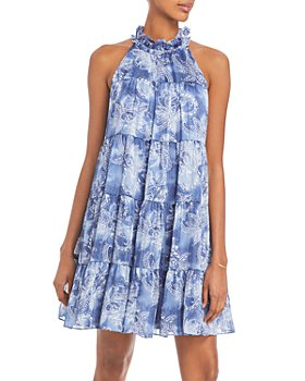 AQUA - Mock Neck Printed Dress - 100% Exclusive