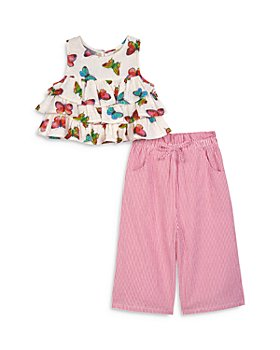 Pippa & Julie - Girls' Tiered Butterfly Top & Striped Gaucho Pants Set - Little Kid