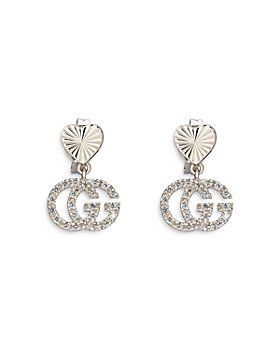 Gucci - 18K White Gold Diamond Double G Drop Earrings